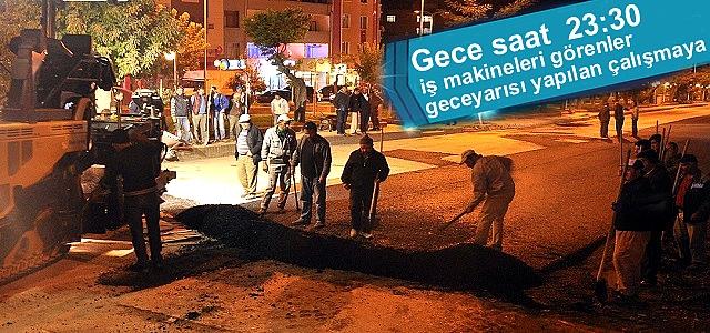 Tosya Belediyesinden Gece Mesaisi