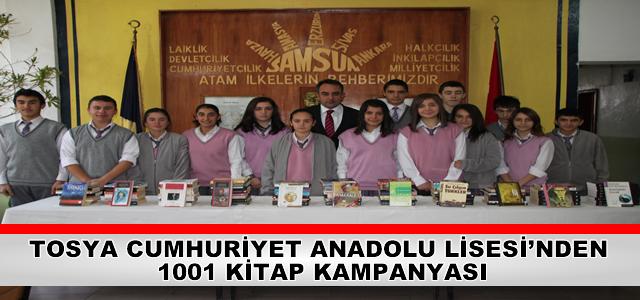 TOSYA CUMHURİYET ANADOLU LİSESİ'NDEN 1001 KİTAP KAMPANYASI