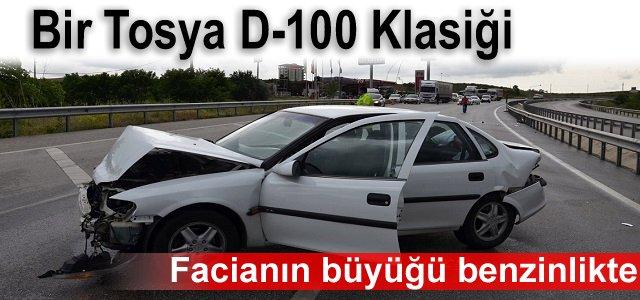 TOSYA'DA TRAFİK KAZASINDA OTOMOBİL BENZNLİĞE DALDI