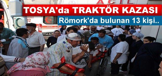 TOSYA'DA TRAKTÖR KAZASINDA 13 KİŞİ YARALANDI