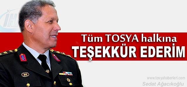 Tosya Garnizon ve Jandarma Komutanı Sefer Sezer'in Teşekkür Mesajı