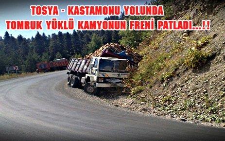 KASTAMONU YOLUNDA KAMYONUN FRENİ PATLADI....!