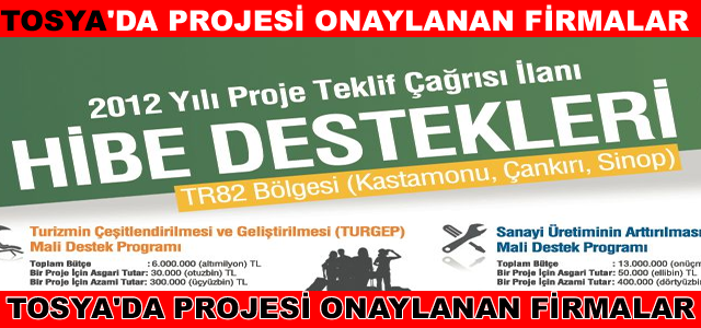 Tosya'da Kuzka Projesi Onaylanan Firmalar