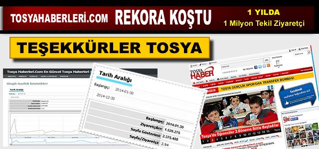 TOSYAHABERLERİ.COM ZİYARETÇİ REKORU KIRDI
