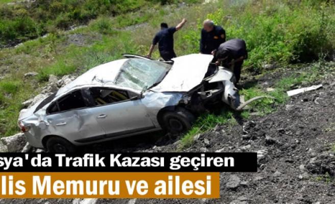 TOSYA'DA TRAFİK KAZASINDA POLİS VE AİLESİ YARALANDI