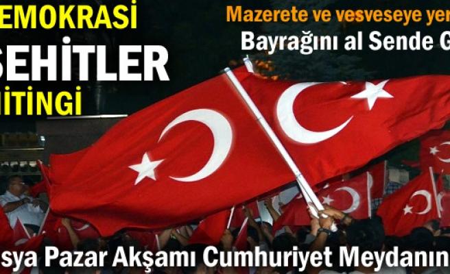 Tosya'da Pazar günü Demokrasi ve Şehitler Mitingi yapılacak.