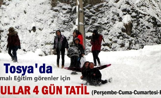 Tosya'da Taşımalı Eğitime Kar Tatili