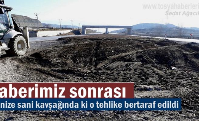 ORGANİZE SANAYİ KAVŞANDAKİ TEHLİKE BERTARAF EDİLDİ.