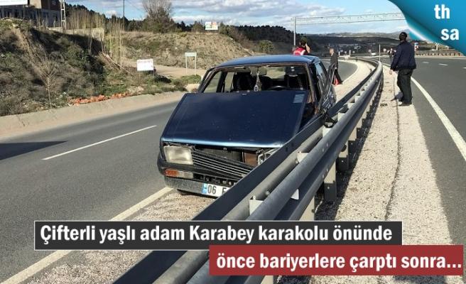 Çifter Köyüne giden yaşlı adam Karabey köyünde kaza yaptı