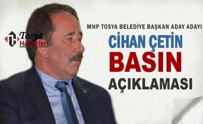 MHP Tosya Belediye Başkan Aday Adayı Cihan Çetin Basın ve Adaylık Açıklaması