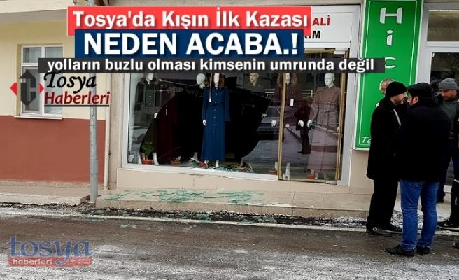 Tosya'da yolların buzlanma sonrası Otomobil Dükkana girdi