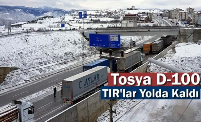 Tosya D-100'de Buzlanma sonrası TIR lar yolda kaldı