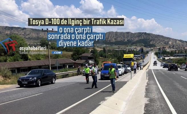 Tosya D-100'de İlginç Trafik Kazası