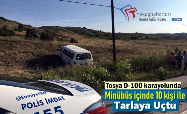 Tosya D-100'de Minibüs Tarlaya Uçtu