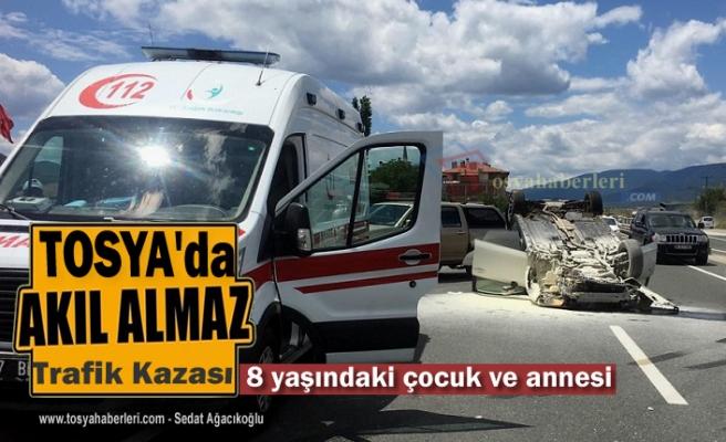 Tosya'da Trafik Kazasında Anne ve Kızı Yaralandı