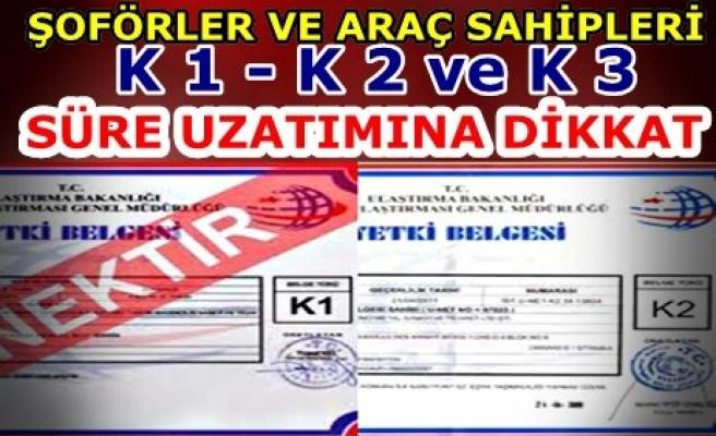 K 1 - K 2 ve K 3 BELGESİ OLANLAR DİKKAT!!!..
