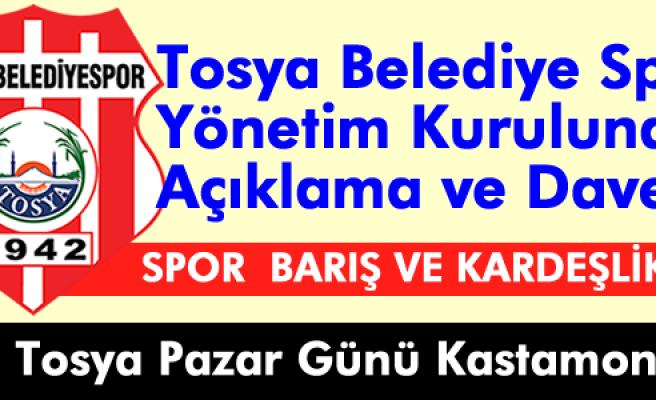 Tosya Belediyespor Yönetim Kurulundan Açıklama ve Maça Davet