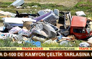 TOSYA D-100'DE EŞYA YÜKLÜ KAMYON ÇELTİK TARLASINA...