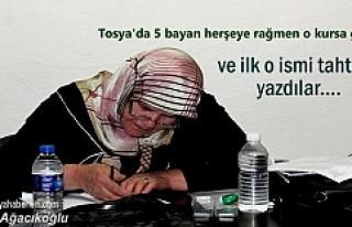 Tosya'da 5 bayan herşeye rağmen Kursa gitti
