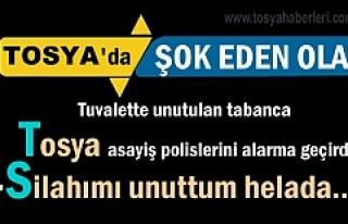 Tosya'da tuvalette unutulan tabanca Asayiş Polislerini...
