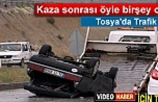TOSYA'DA TRAFİK KAZASI SONRASI YAŞANANLAR