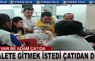 TOSYA'DA TUVALETE GİDEN ADAM ÇATIDAN DÜŞTÜ (VİDEO...