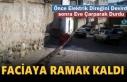 Tosya'da Freni Boşalan İtfaiye Aracı Direği Devirdi