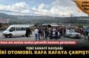 Tosya Yeni Sanayi Kavşağında iki otomobil kafa kafaya çarpıştı