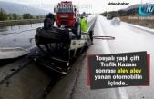 Tosya'da Trafik Kazası sonrası yaşlı çiftin olduğu otomobil alev alev yandı