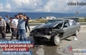 Tosya'da Köpeğe Çarpmamak için Direksiyon Kıran Bayan Sürücü