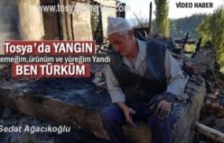 Tosya'da Suluca Köyünde Yangında 2 katlı Ev ve Samanlık Yandı