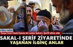 Tosya'da Sakal-ı Şerif'i ziyaret eden gözleri görmeyen yaşlı adamdan şok tepki