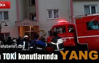 TOSYA TOKİ KONUTLARINDA YANGIN