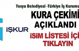 İŞ-KUR - TOSYA BELEDİYESİ ASİL VE YEDEK LİSTE...
