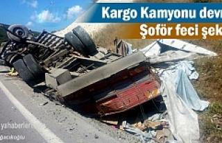 Kargo Kamyonu devrildi Şoför feci şekilde hayatını...