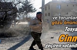 Tosya'da Cinnet geçiren yaşlı adam yolu trafiğe...