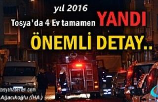 Tosya'da 4 Ev Tamamen Yandı