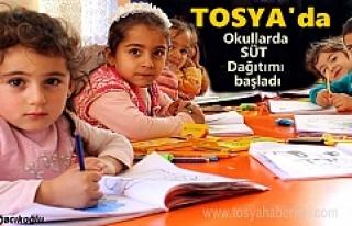 Tosya'da Öğrencilere Süt Dağıtımı Başladı