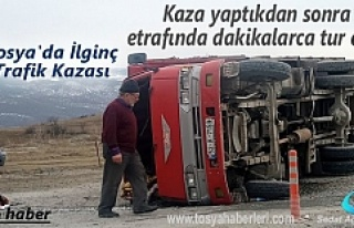 Tosya Trafik Kazası şoför kamyonun etrafında tur...