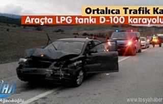 Ortalıca'da kaza yapan Otomobilin LPG tankı