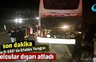 Tosya D-100'de Otobüs Yangını