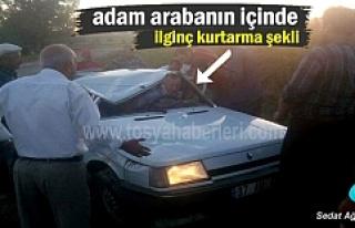 Kastamonu'da direksiyonda uyuyan şoför takla attı;1...