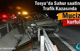 Tosya'da Sahurda meydana gelen kazada mucize kurtuluş