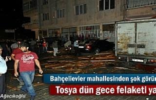 Tosya dün gece felaketi yaşadı ( Evlerin çatısı...
