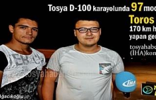 Tosya'da D-100 de Toros otomobil ile 170 km hız...