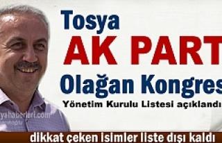 AK PARTİ TOSYA İLÇE KONGRESİ ADAY LİSTESİ AÇIKLANDI