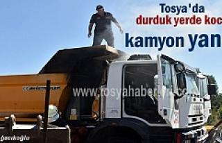 Tosya'da park halindeki harfiyat kamyonu yandı