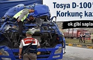 Tosya'da TIR kazasında sürücünün mucize kurtuluşu