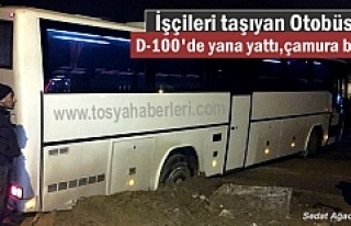 Tosya D-100'de Servis Otobüse yana yattı,çamura...