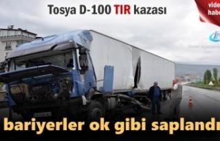 Tosya D-100 karayolunda TIR Kazazında Faciadan dönüldü